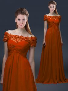 Latest Off The Shoulder Short Sleeves Prom Evening Gown Floor Length Appliques Rust Red Chiffon