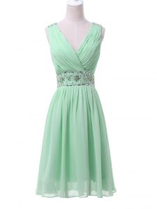 Apple Green Sleeveless Beading and Ruching Knee Length Quinceanera Court Dresses