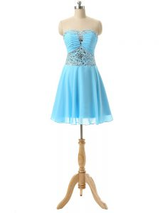 Fantastic Baby Blue Sleeveless Mini Length Beading Lace Up Dress for Prom