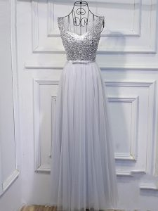 Grey Tulle Lace Up Scoop Sleeveless Floor Length Evening Dress Beading and Sequins