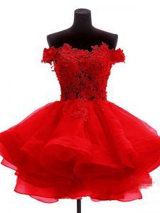 Fantastic A-line Homecoming Dress Red Off The Shoulder Organza Sleeveless Mini Length Zipper