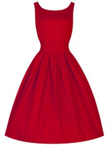 Ruching Vestidos de Damas Red Lace Up Sleeveless Knee Length