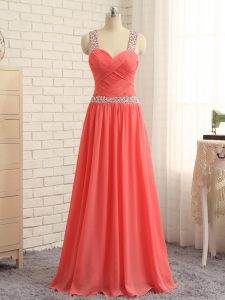 Extravagant Watermelon Red Dress for Prom Prom and Party and Wedding Party with Beading and Ruching Straps Sleeveless Criss Cross