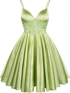 Custom Designed Yellow Green Sleeveless Knee Length Lace Lace Up Dama Dress for Quinceanera