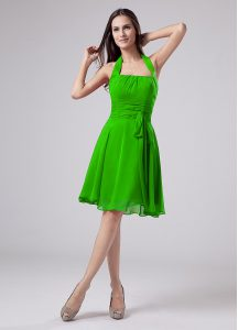 Stunning Sleeveless Chiffon Knee Length Zipper Prom Dress in with Ruching