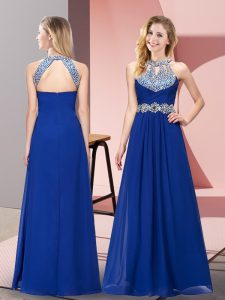 Sleeveless Chiffon Floor Length Zipper Evening Dress in Blue with Beading and Ruching