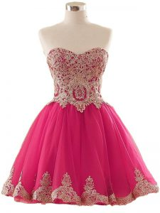 Fabulous Sleeveless Tulle Mini Length Lace Up Evening Dress in Hot Pink with Appliques