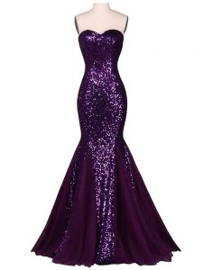 Latest Purple Homecoming Dress Prom and Party and Military Ball and Sweet 16 with Sequins Sweetheart Sleeveless Lace Up