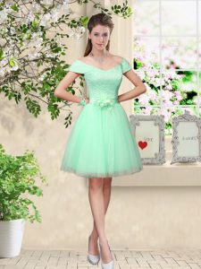 Dramatic Knee Length Apple Green Quinceanera Court of Honor Dress Tulle Cap Sleeves Belt