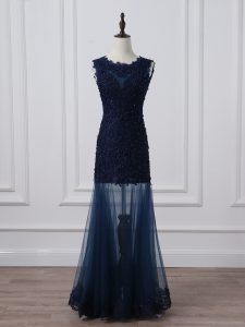 Stylish Navy Blue Column/Sheath Scoop Sleeveless Tulle Floor Length Lace Up Lace and Appliques Prom Party Dress