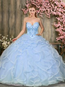 Sweetheart Sleeveless Quinceanera Dresses Floor Length Beading and Ruffles Light Blue Tulle