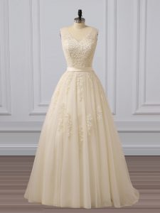 Delicate Champagne A-line Tulle V-neck Sleeveless Lace and Appliques Lace Up Homecoming Dress Brush Train