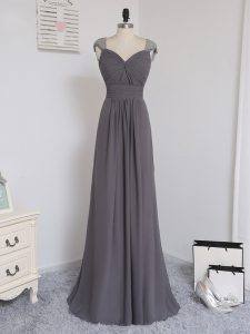 Perfect Grey Quinceanera Court of Honor Dress Chiffon Brush Train Cap Sleeves Lace and Ruching