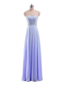 Clearance Floor Length Zipper Prom Dress Lavender for Prom and Party and Military Ball with Beading
