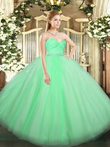 Apple Green Sweetheart Neckline Beading and Lace Quinceanera Gown Sleeveless Zipper