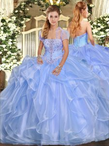 Floor Length Lace Up Ball Gown Prom Dress Light Blue for Military Ball and Sweet 16 and Quinceanera with Appliques and Ruffles