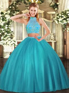 Halter Top Sleeveless Quinceanera Gown Floor Length Beading Aqua Blue Tulle