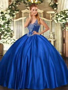 Sleeveless Floor Length Beading Lace Up Sweet 16 Dresses with Royal Blue