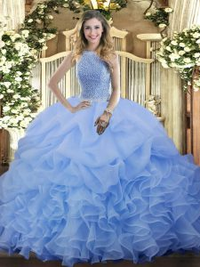 Ideal Floor Length Blue 15 Quinceanera Dress Organza Sleeveless Beading and Ruffles and Pick Ups