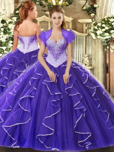 Purple Ball Gown Prom Dress Military Ball and Sweet 16 and Quinceanera with Beading Sweetheart Cap Sleeves Lace Up
