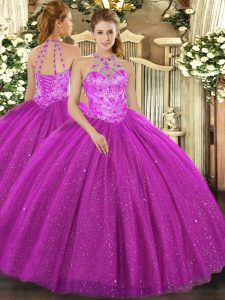 Fuchsia Sleeveless Floor Length Beading and Embroidery and Sequins Lace Up Ball Gown Prom Dress