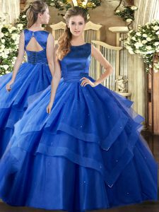 Sleeveless Floor Length Ruffled Layers Lace Up Quinceanera Gown with Blue