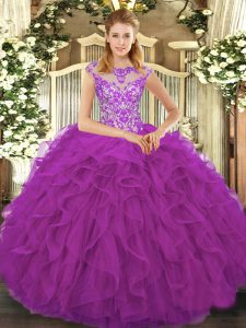 Elegant Organza Scoop Cap Sleeves Lace Up Beading and Ruffles Sweet 16 Quinceanera Dress in Eggplant Purple
