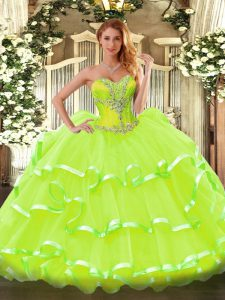 Inexpensive Yellow Green Organza Lace Up Quinceanera Gown Sleeveless Floor Length Beading and Ruffled Layers