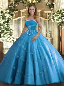Artistic Floor Length Baby Blue 15th Birthday Dress Strapless Sleeveless Lace Up