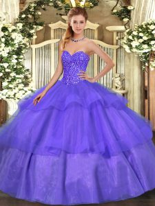 New Style Lavender Sleeveless Tulle Lace Up Sweet 16 Quinceanera Dress for Military Ball and Sweet 16 and Quinceanera