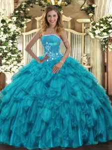 Trendy Sleeveless Floor Length Beading and Ruffles Lace Up Ball Gown Prom Dress with Teal