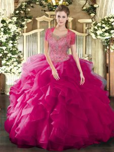 Sleeveless Tulle Floor Length Clasp Handle Quinceanera Dress in Fuchsia with Beading and Ruffled Layers