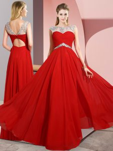 New Style Scoop Sleeveless Chiffon Prom Dress Beading Clasp Handle