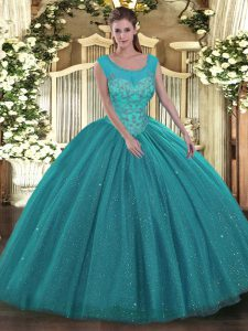 Scoop Sleeveless Tulle and Sequined Quinceanera Dress Beading Backless