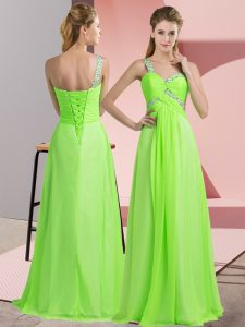 Super Chiffon Sleeveless Floor Length Evening Dress and Beading