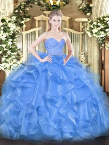 Flare Sweetheart Sleeveless Quinceanera Dresses Floor Length Beading and Lace and Ruffles Baby Blue Organza