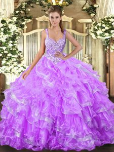 Lilac Ball Gown Prom Dress Military Ball and Sweet 16 and Quinceanera with Beading and Ruffled Layers Straps Sleeveless Lace Up