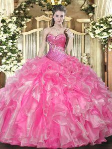 Beautiful Hot Pink Ball Gowns Organza Sweetheart Sleeveless Beading and Ruffles Floor Length Lace Up Quinceanera Dress