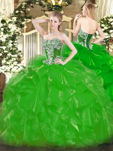 Floor Length Lace Up Quinceanera Dress Green for Military Ball and Sweet 16 and Quinceanera with Beading and Ruffles