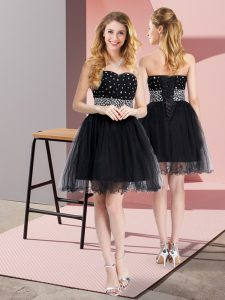 Black Sleeveless Beading Mini Length