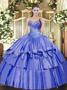 Blue Sweetheart Lace Up Beading and Ruffled Layers Quinceanera Gowns Sleeveless