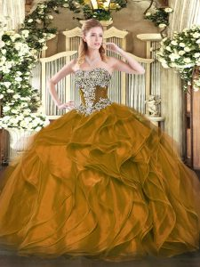 Strapless Sleeveless Lace Up 15 Quinceanera Dress Brown Organza