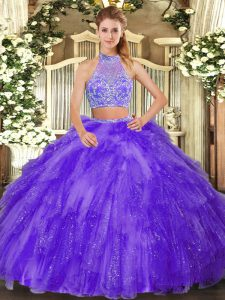 Exquisite Halter Top Sleeveless 15th Birthday Dress Floor Length Beading and Ruffles Purple Tulle
