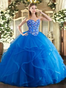 Floor Length Royal Blue Quinceanera Gown Tulle Sleeveless Embroidery and Ruffles