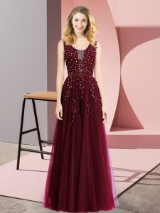 New Arrival Burgundy Backless Beading and Appliques Sleeveless Floor Length