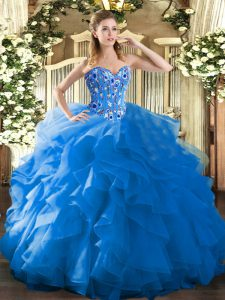 Stunning Floor Length Blue Quince Ball Gowns Organza Sleeveless Embroidery and Ruffles