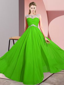 Customized Scoop Sleeveless Chiffon Homecoming Dress Beading Clasp Handle
