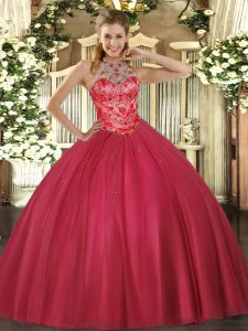 Fitting Coral Red Satin Lace Up 15 Quinceanera Dress Sleeveless Floor Length Beading