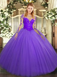Gorgeous Scoop Long Sleeves Tulle Ball Gown Prom Dress Lace Lace Up