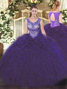Purple Organza Lace Up Scoop Sleeveless Floor Length Quinceanera Gown Beading and Ruffles